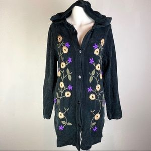 NWT Denim & Co Embroidered Button Cardigan Hoodie